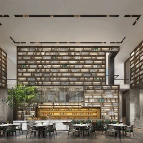 新中式酒店餐饮空间3D模型【ID:120815873】