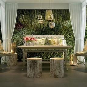美式田园铁艺餐座椅帐篷植物墙3D模型【ID:327901641】