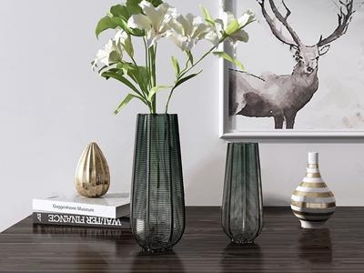 美式玻璃花瓶飾品擺件3D模型【ID:234737502】
