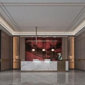 新中式酒店大堂3d模型【ID:749328068】