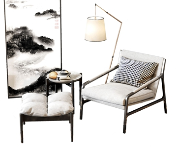 新中式单人休闲椅3D模型【ID:641631495】