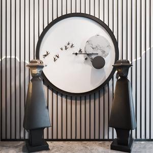 新中式墙饰人物摆件3D模型【ID:242043532】