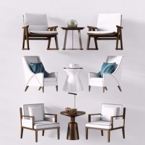 新中式布艺休闲椅圆几组合3D模型【ID:227783447】