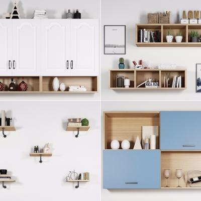 北歐實木壁柜置物架擺件組合3D模型【ID:927836265】