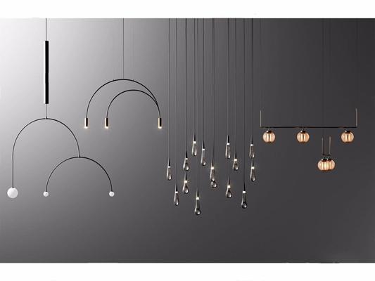 现代几何吊灯餐吊灯组合3D模型【ID:528029886】