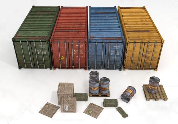 集装箱货运箱油漆桶3D模型【ID:931440822】