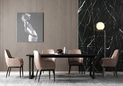 現代輕奢皮革餐桌椅組合3D模型【ID:841359863】