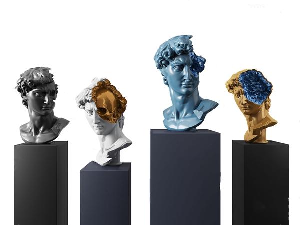 現代人物頭像雕塑3D模型【ID:346657128】