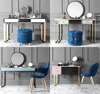 现代梳妆台椅子凳子组合3D模型【ID:932387435】
