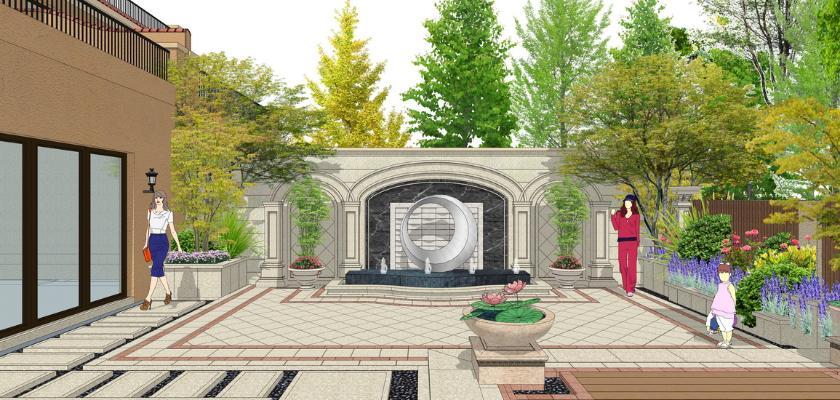 歐式庭院景觀SU模型【ID:548604921】