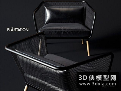 现代休闲椅国外3D模型【ID:729458868】