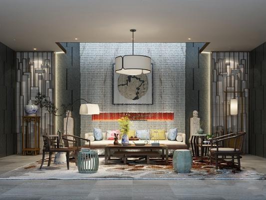 中式沙发茶几组合3D模型【ID:620610038】