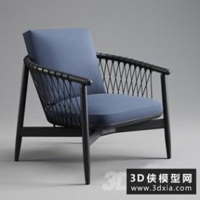 现代休闲椅国外3D模型【ID:729311891】