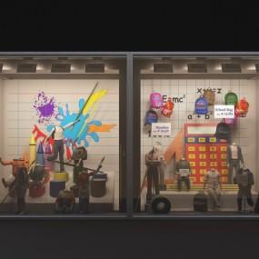 现代橱窗商铺服装店门面3D模型【ID:527801458】