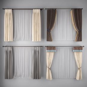 現代窗簾窗紗組合3D模型【ID:327786861】