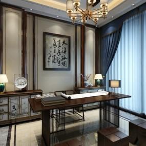 新中式书房3D模型【ID:528019672】