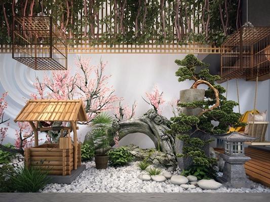 新中式枯山水造景3D模型【ID:928192930】