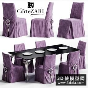 欧式餐桌椅组合国外3D模型【ID:729320721】