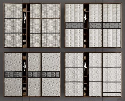 现代软包衣柜3D模型【ID:928200941】