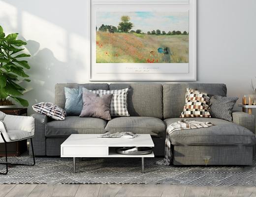现代沙发茶几组合3D模型【ID:620013037】