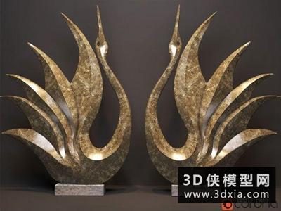 现代天鹅装饰品国外3D模型【ID:929555727】