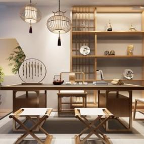 新中式茶室3D模型【ID:127851976】