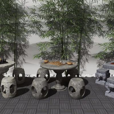 中式石桌石凳象棋圍棋組合3D模型【ID:328439667】