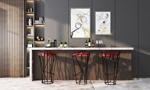 现代创意铁艺吧椅吧台组合3D模型【ID:620809355】