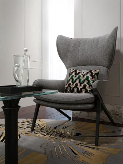 魚尾地毯高檔休閑高靠背椅子3D模型【ID:928158658】