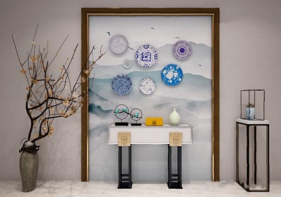 新中式背景墙3D模型【ID:326227506】