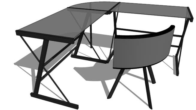 玻璃桌SU模型【ID:939409813】