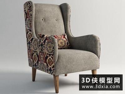 现代单人沙发椅国外3D模型【ID:729383825】