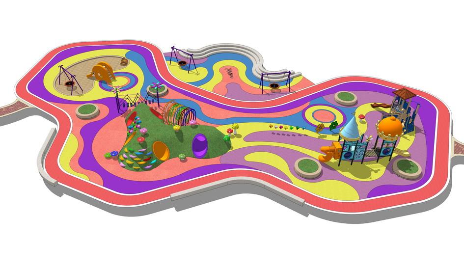 儿童游乐场儿童乐园SU模型【ID:636334732】