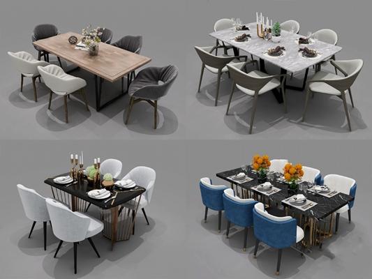 現代餐桌椅組合3D模型【ID:126232848】