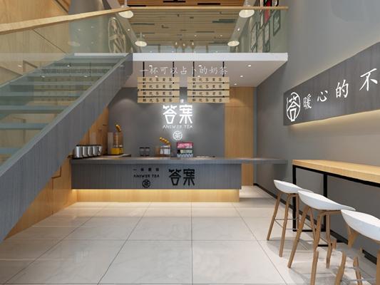 现代奶茶店3D模型【ID:324887540】