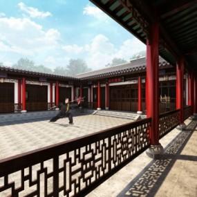 中式庭院武术馆3D模型【ID:528454669】