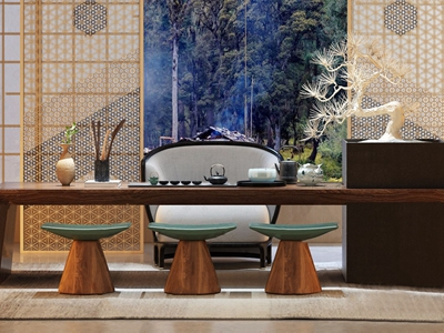新中式茶室3D模型【ID:320828788】