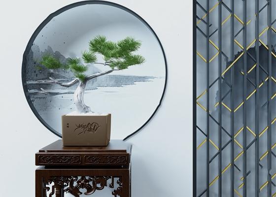 中式盆景3D模型【ID:920614594】