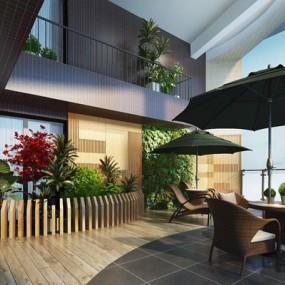室外阳台3D模型【ID:928179940】