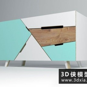 现代装饰柜国外3D模型【ID:829495064】
