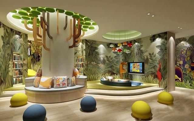 現代幼兒園閱覽室3D模型【ID:527853875】