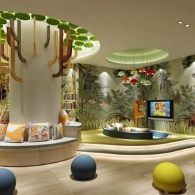 现代幼儿园阅览室3D模型【ID:527853875】