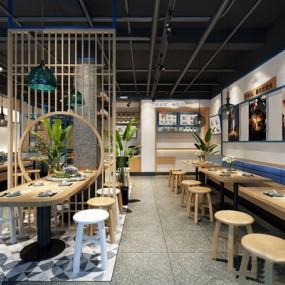 新中式餐厅3D模型【ID:328278466】