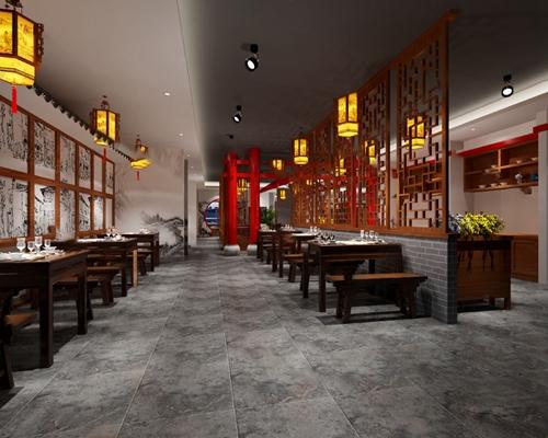中式餐厅3D模型【ID:120618844】