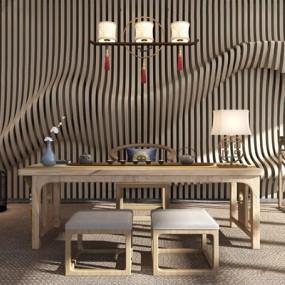 新中式茶桌椅3D模型【ID:327935641】