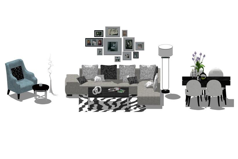 现代客厅沙发茶几落地灯餐桌组合SU模型【ID:736334683】