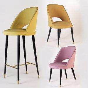 现代布艺吧台椅组合3D模型【ID:620804361】