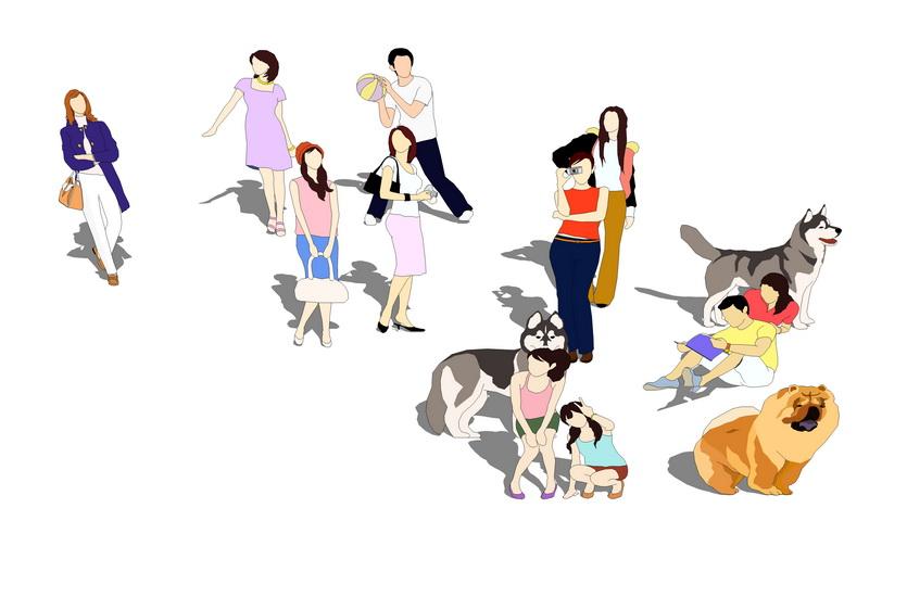 2D人物动物组合SU模型【ID:836335042】