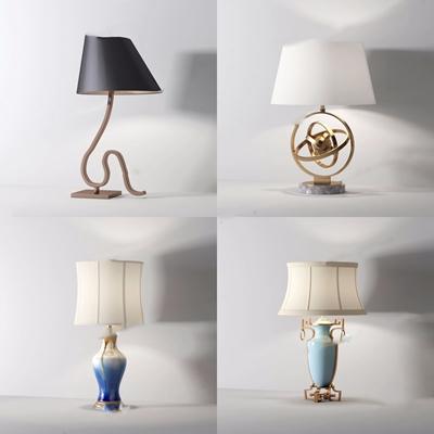 新中式臺燈組合3D模型【ID:628051138】