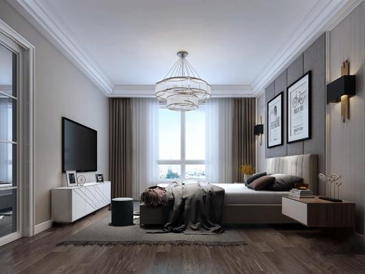 现代卧室3D模型【ID:124889379】